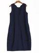 Blue Plain Sewing Wool Blend Statement Midi Dress