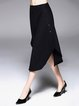 Black Statement Asymmetrical Plain Polyester Midi Skirt