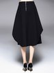 Black Statement Asymmetrical Plain Polyester Midi Skirt