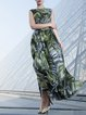 Green Short Sleeve Chiffon Printed Resort Summer Maxi Dress