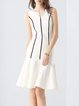 White V Neck Cotton Sleeveless Flounce Midi Dress