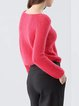 Red Wool Blend Casual Sweater