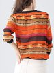 Orange Printed Stripes Casual Blouse