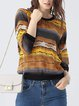 Yellow Stripes Long Sleeve Crew Neck Polyester Blouse