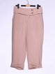 Pink Plain Casual H-line Cropped Pants