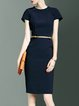 Polyester Simple Short Sleeve Plain Midi Dress with Belt