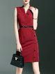 V Neck Simple Buttoned Sleeveless Mini Dress with Belt
