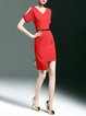Asymmetric Elegant Short Sleeve Mini Dress with Belt