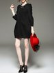 Black Plain Pockets Casual Mini Dress