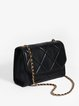 Black Push Lock Cowhide Leather Small Casual Crossbody
