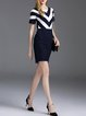 Dark Blue Cotton-blend Short Sleeve Stripes Mini Dress