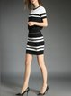 Black Casual Stripes Two Piece Cotton-blend Mini Dress