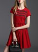 Red Short Sleeve Crew Neck Cotton Mini Dress