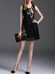 Black A-line Casual Embroidered Mini Dress