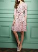 Pink 3/4 Sleeve Cartoon Pattern Printed Surplice Neck Midi Dress
