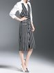 Black Stripes Two Piece 3/4 Sleeve Midi Dress