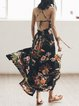 Beach Spaghetti Floral Print Slit Beach Maxi Dress