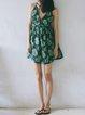 Green Printed Polyester Spaghetti Beach Mini Dress
