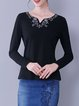 Cotton-blend Embroidered Casual Long Sleeve Floral T-Shirt