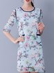 Half Sleeve Resort H-line Floral Print Mini Dress