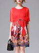 Red Half Sleeve Tribal Printed Shift Crew Neck Mini Dress