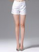 White Zipper Simple Shorts