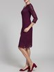 Burgundy 3/4 Sleeve Layered Scalloped Sheath Midi Dress