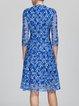 Blue Floral Vintage Midi Dress
