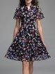 Multicolor Casual Polyester V Neck Midi Dress
