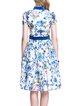 Multicolor Short Sleeve Floral-print Midi Dress
