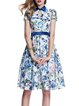 Multicolor Short Sleeve Floral-print Midi Dress