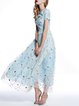 Light Blue Boho Paneled Floral Polyester Maxi Dress