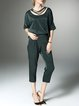 Plain Half Sleeve Pockets Casual Detached  Jumpsuit