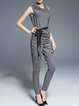 Light Gray Plain Work Polyester Buttoned Skinny Leg Pants