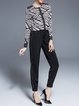 Black Shirred Spandex Plain Work Skinny Leg Pants