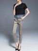 Deep Gray Spandex Pockets Work Plain Skinny Leg Pants
