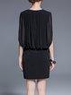 Black Sleeveless Beaded V Neck Mini Dress