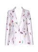 White Long Sleeve Floral Silk Blazer