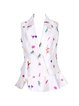Cream Floral-print Sleeveless Elegant Shirt Collar Vests