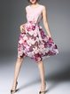 Pink Crew Neck A-line Floral Sleeveless Midi Dress