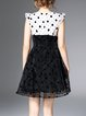 Multicolor Polka Dots Girly Crew Neck A-line Mini Dress