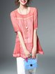 Pink Crew Neck Casual Blouse