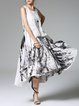 Zipper Casual Swing Sleeveless Abstract Maxi Dress