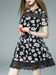 Black Crocheted Short Sleeve Floral Mini Dress