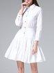 White Plain Cotton Casual Shirt Collar Mini Dress