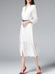 White Ribbed Elegant Shirt Dress with Belt