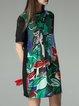 Green Crew Neck Cute Printed Mini Dress