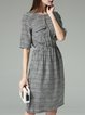 Gray Geometric Short Sleeve Silk A-line Midi Dress