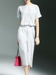 Gray Short Sleeve A-line Printed Jumpsuit
