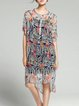 Multicolor Graphic High Low Printed Casual Midi Dress With Camis